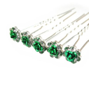 Jewellery of Lords 10 Clear Czech Crystal Green Metal Rose Flower Wedding Bridal Bride Prom Hair Bobby Pin