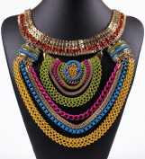 Funky Ethnic Tribal Colourful Multiple Chain Bib Choker Statement Collar Necklace