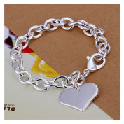 NYKKOLA New Fashion Jewellery Classic Lady Women 925 Silver Heart Pendant Love Bracelet