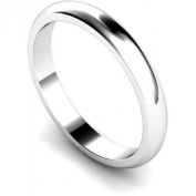 3mm D-Shape Heavy Silver Wedding Band Ring In Sizes Complete With Gift Ring Box