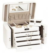 Extra Large Empress Jewellery Box / Jewel Case in Bonded Leather by Mele & Co WHITE with Premium Luxury Lining