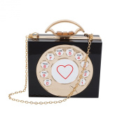 Zarapack Women's Acrylic Hard Case Telephone Style Evening Clutch Shoulder Bag