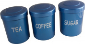 Blue Plastic Tea Coffee Sugar Storage Canisters Jars Pots Camping Caravan