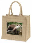 River Otter Large Natural Jute Shopping Bag Christmas Gift