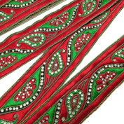 Dress Embellishment Trim Red Embroidered Trimming Indian Sari Border By The Yard