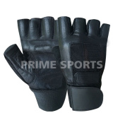 Prime Leather Full Padded High Quality Weight Lifting Gloves Long Wrist Wrap Power Lifting PADDED Palm Exercise Fitness Strengthen Home Gym Black