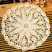kilofly Crochet Cotton Lace Table Placemats Doilies Value Pack, 4pc, Persia, Beige, 25cm