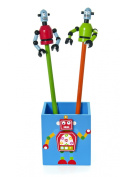 Wooden Robot Pencil Pot Room Tidy for Boys