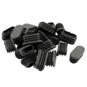 16mm x 34mm Plastic Oval Shaped End Cup Tube Insert Black 24 Pcs