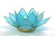 Beautiful Large Blue 5th Chakra Lotus Flower Tea Light Candle Holder.