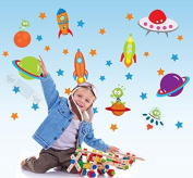 SPACESHIP Large Childrens Wall Stickers for Girls, Boys Bedroom or Childrens Playroom, Babies Nursery