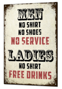 Ladies No Shirt Free Drinks Metal Sign Funny Retro Tin Plaque Man Cave Bar