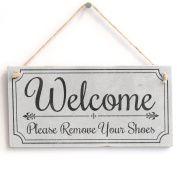 'Welcome Please Remove Your Shoes' - Cute Welcome Sign - Handmade Shabby Chic Wooden Door Sign / Plaque