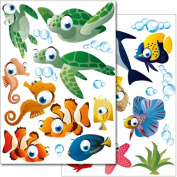 """Wandkings wall stickers """"Underwater Ocean World"""" Sticker Set - more than 25 stickers on 2 A4 sheets"""
