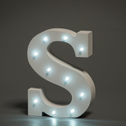 Up in Lights Decorative LED Alphabet White Solid Letters - Letter S