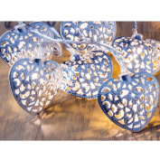 Babz 10 Silver Filigree Heart Battery Operated LED Fairy Lights Indoor