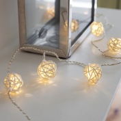 Indoor Wicker Rattan Ball Fairy Lights with 16 Warm White LEDs by Lights4fun