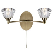 Searchlight Sierra Twin Wall Light Antique Brass Finish with Sculptured Clear Glass Shades, 2632-2AB