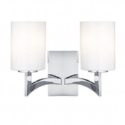 Searchlight Gina 2-Light Chrome Finish Wall Light Complete with Opal Glass Shades, 4992-2CC