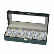 Watch Box Large Men's Black Leather Display Glass Top Jewellery Case Organiser