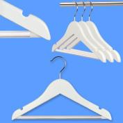 Hangerworld Pack of 48 Children's White Wooden Coat Hangers with Non Slip Trouser Bar - For Baby & Toddler 30cm