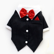 SMALLLEE_LUCKY_STORE Pet Black Tuxedo Small Dog Shirt Bow Tie T-shirt Wedding Suit Jacket Pet Clothes Gentleman XL