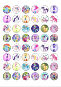 48 Round My Little Pony Characters Edible Wafer Paper Cake Toppers