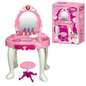 DURABLE NEW KIDS GIRLS DRESSING TABLE MIRROR PLAY SET GLAMOUR BEAUTY MAKEUP GAME TOY GIFT