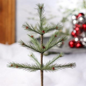 Pair of Small Primitive Feather Pine Tree Picks with Decorative Red Ball Accents