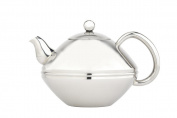 bredemeijer Ceylon Double Walled Teapot, 1.4-Litre, Stainless Steel Glossy Finish with Chromium Accents