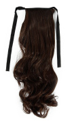 """S-noilite Natural 18""""(55cm) Curly Medium Brown Wrap Around Ponytail Clip in Hair Extensions One Piece Binding Tie up Pony Tail Long"""