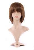 MapofBeauty Natural Designer Short-length Synthetic Straight Wigs-Light Brown