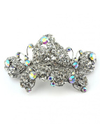 Women's Rhinestone Dual Butterfly Barrette Clip Hair Pin Antique Silver IMB2127