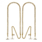 Strap N' Guard Women's Double Row Gold Crystal Pin Straps for Bra and Clothing