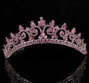 Sexy Pink Austrian Rhinestone Crystal Crown Tiara Combs Bridal Wedding T301pink