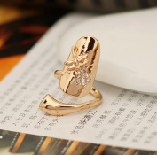 1pcs . Dragonfly Flower Shiny Rhinestone Finger Tip Nail Ring Gold