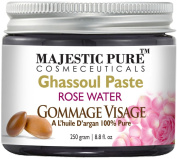 Majestic Pure Moroccan Ghassoul Paste 260ml - Hammam Spa's Premium Quality Paste with Rose Water and Argan Oil - Visibly Improves the Appearance of Your Skin Within Minutes - Deep Pore Cleansing