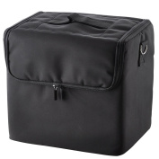 210D Black Soft Makeup Train Bag Case Pockets Artist Cosmetic Handbag w/ Strap