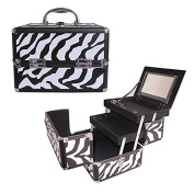 BerucciTM Professional Zebra 25cm Lightweight Aluminium Makeup Artist Organiser Kit with 2 Extendable Trays, Aluminium Trimming, Lock and Keys, Mirror, and Shoulder Strap