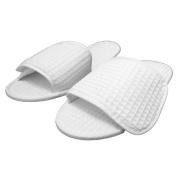 TowelRobes Waffle Spa . Open Toe Unisex Slippers - White