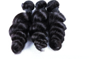 ShowLife Malaysian Virgin Hair Grand 6A 3PCS Loose Wave Human Hair Extension Mixed Length 41cm 46cm 46cm 300g/3pcs Naturl Unprocessed Black Hair Bundles