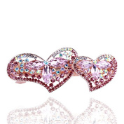 So Beauty Sophisticated Double Peach Heart Shaped Crystal and Rhinestone Hair Barrette Clip Accessary Pink