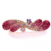 So Beauty Women's Floral Shaped Crystal and Rhinestone Hair Barrette Clip Accessary Pink