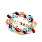 So Beauty Women's Multi-Butterflies Shaped Crystal and Rhinestone Hair Barrette Clip Accessary Multicolor
