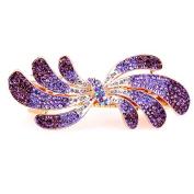 So Beauty Women's Charming Petal Shaped Multi Rhinestone Hair Barrette Clip Accessary Purple