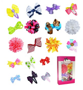 Girl Toddler Baby Assorted Ribbon Hair Bow Clips 18pcs by ColorBeBe