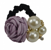 Fashion Clothes Flower Decor Elastic Hair Rubber Band Ponytail Holder