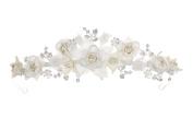 Handmade Bridal Rhinestone Ivory Fabric Flower Wedding Tiara Crown T761