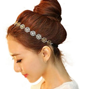 Polytree 3pcs Fashion Golden Alloy Hollow Out Rose Elastic Hair Band Headband
