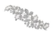 Bridal Floral Rhinestones Crystal Wedding Tiara Side Hair Comb T1089